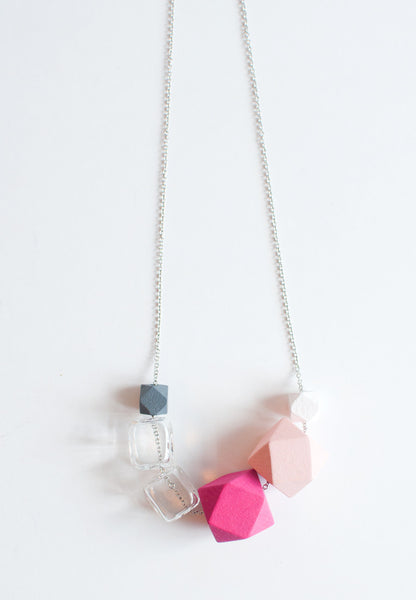 Square Pink Wood Necklace - sanwaitsai