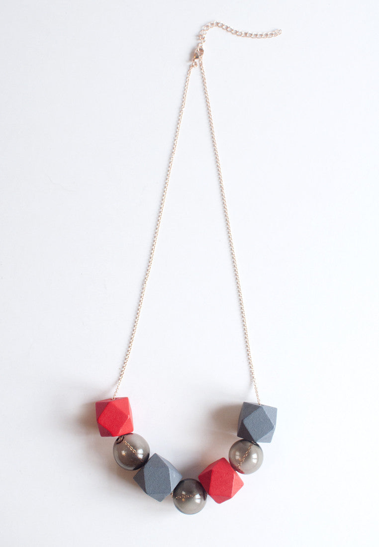 Red Grey Necklace - sanwaitsai