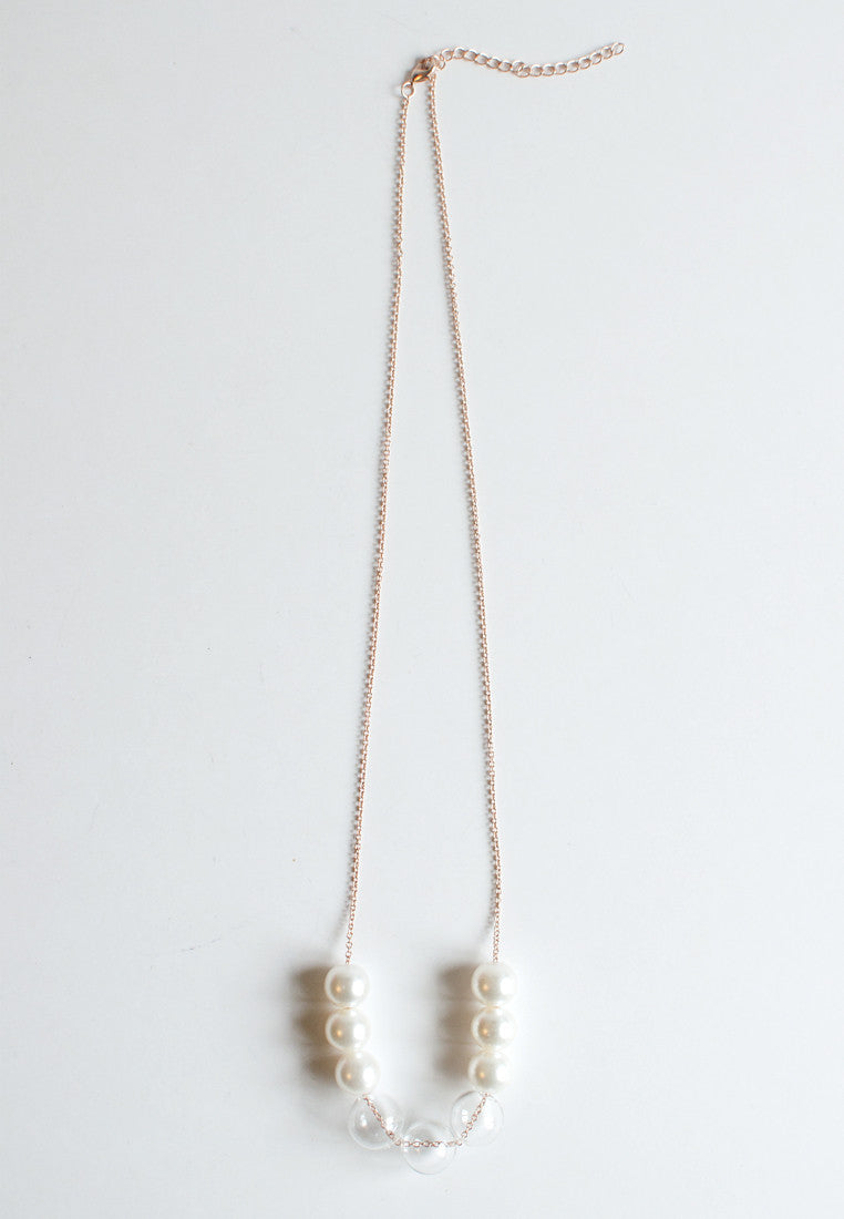 Faux Pearl Glass Necklace - sanwaitsai