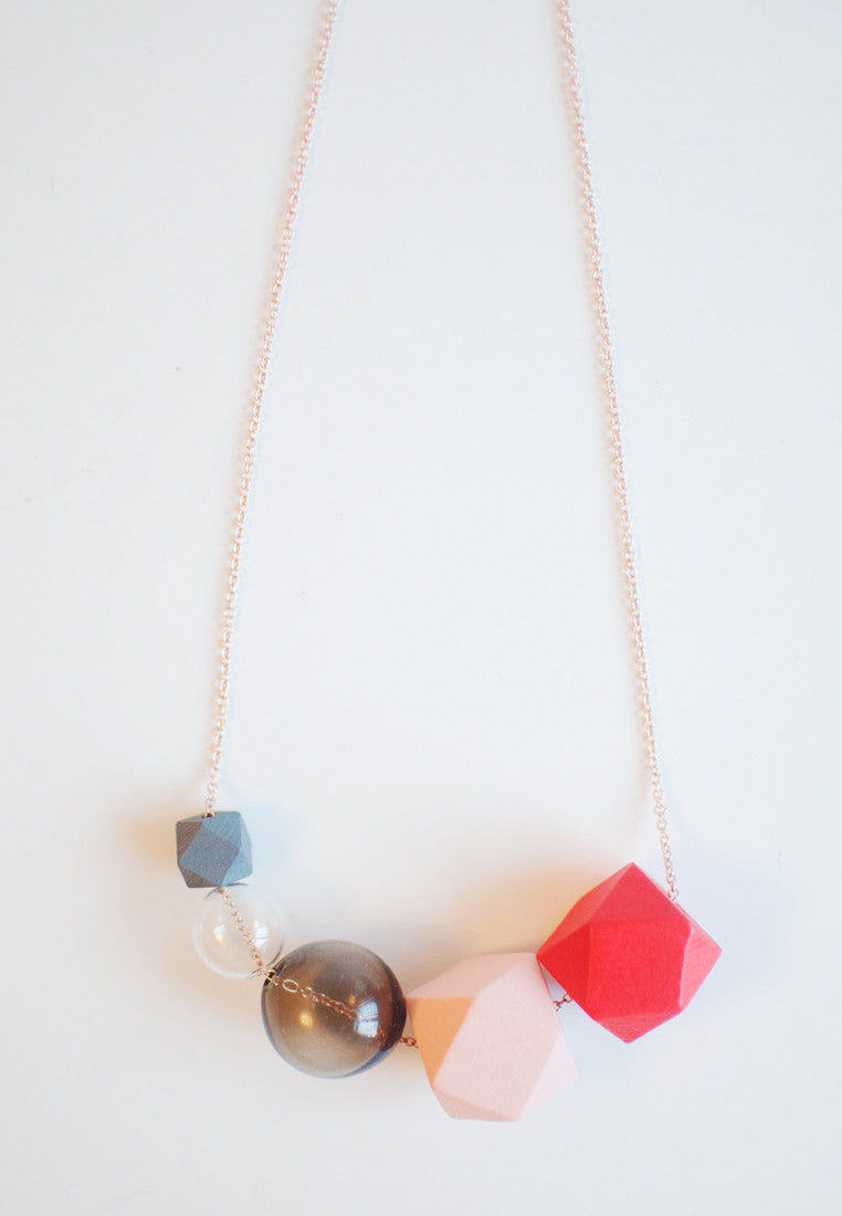 Red Tinted Glass Necklace - sanwaitsai