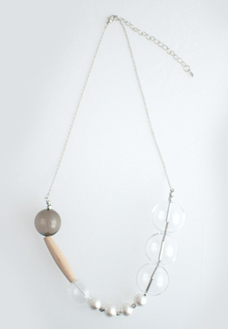 Cotton Pearl Wood Necklace - sanwaitsai