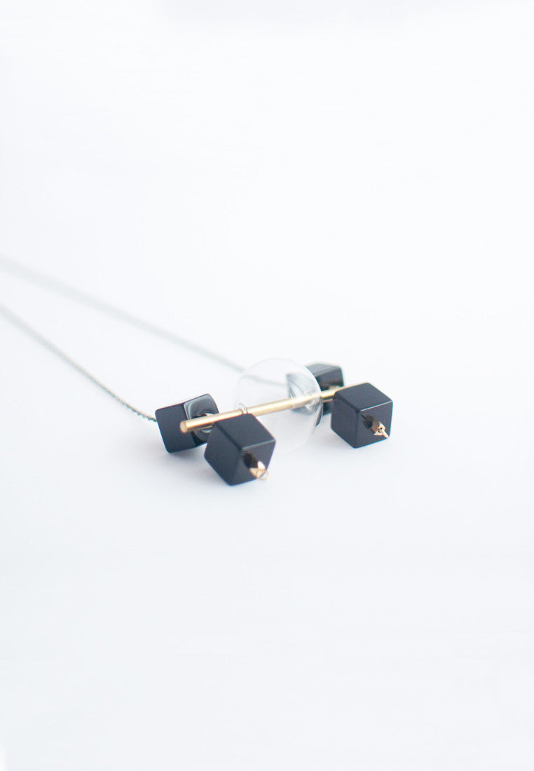 Square Onyx Beads Necklace - sanwaitsai