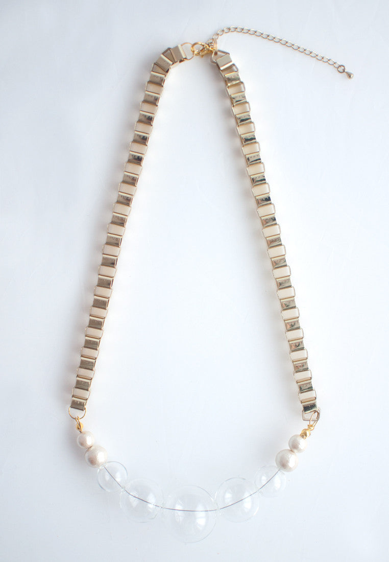 Glass Beads Metal Necklace - sanwaitsai