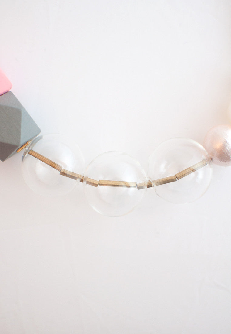 Glass Pink Wooden Necklace - sanwaitsai