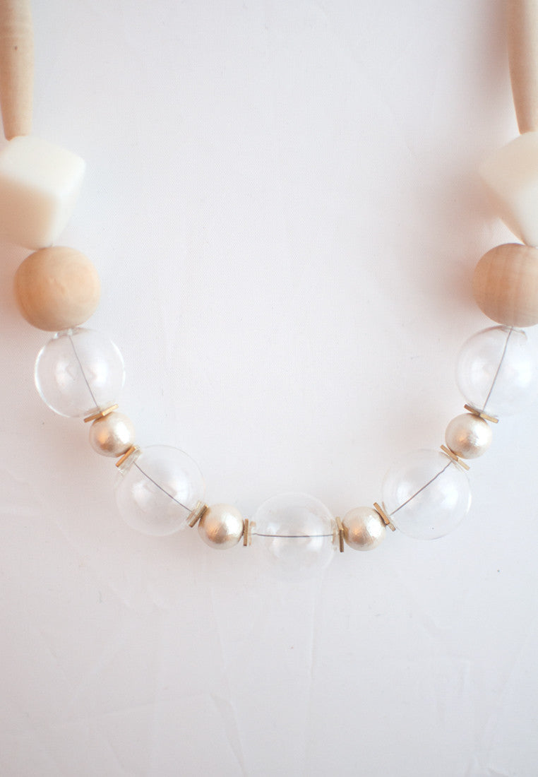 Glass White Wood Necklace - sanwaitsai