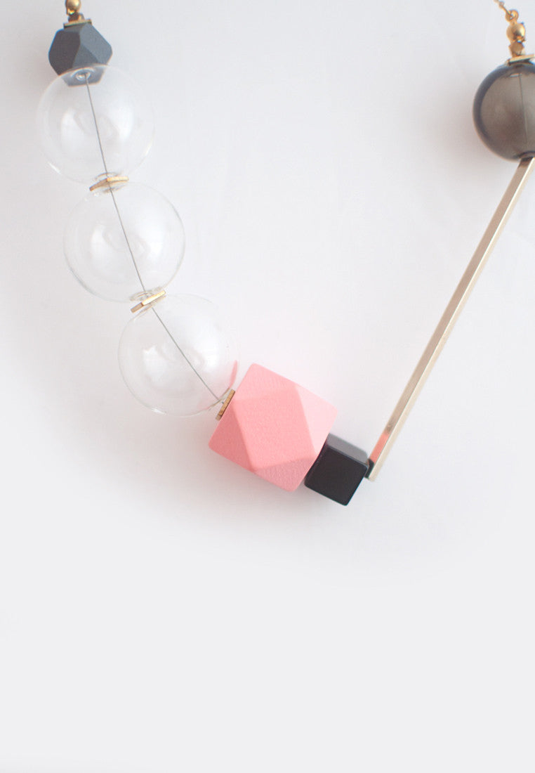 Pink Glass Beads Necklace - sanwaitsai
