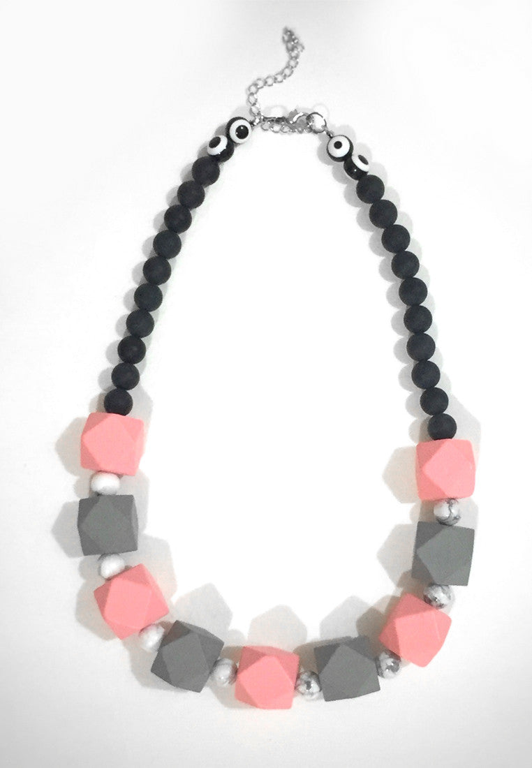 Pink Grey Howlite Necklace - sanwaitsai