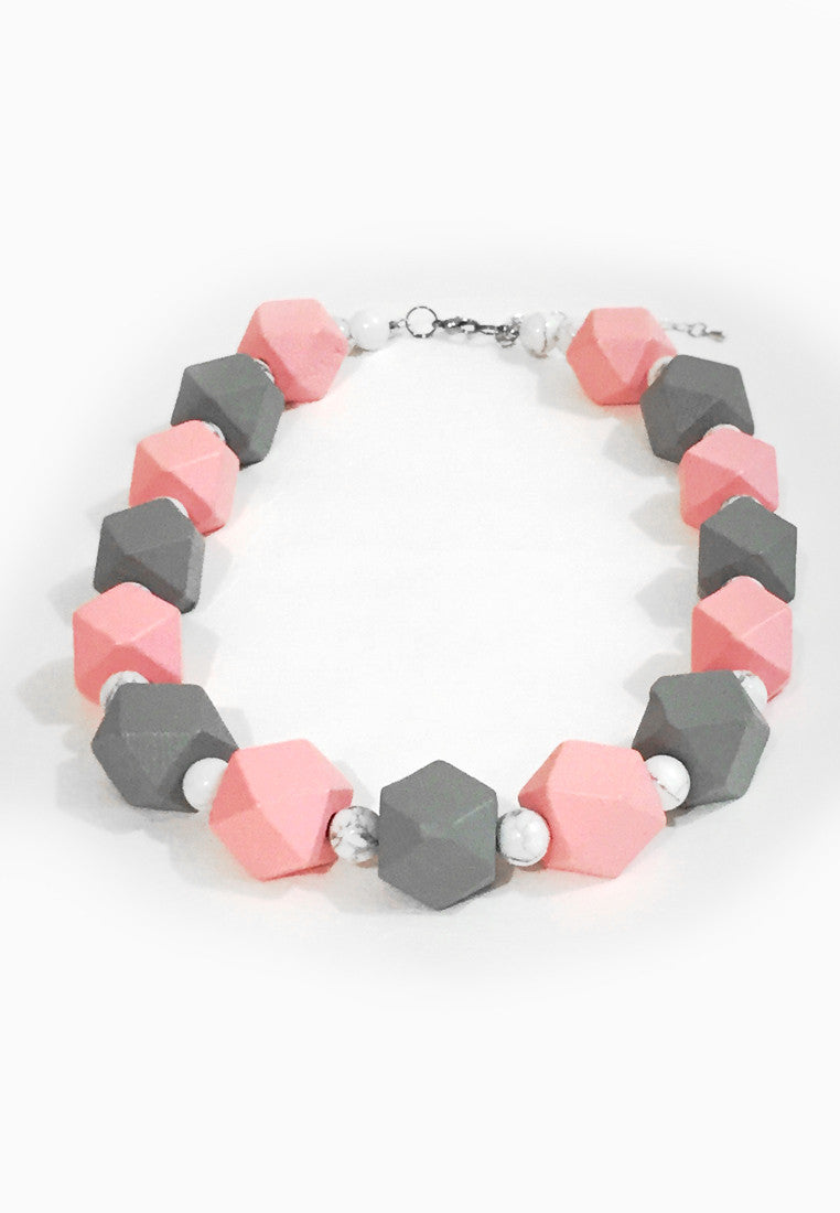 Pink White Howlite Necklace - sanwaitsai