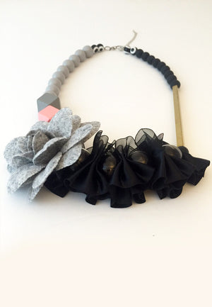 Black Lace Glass Beads Necklace - sanwaitsai