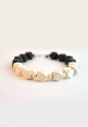 Black & White Wood Necklace - sanwaitsai - 1