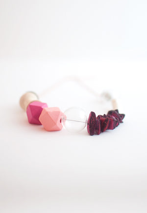 Natural Wood Pink Necklace - sanwaitsai