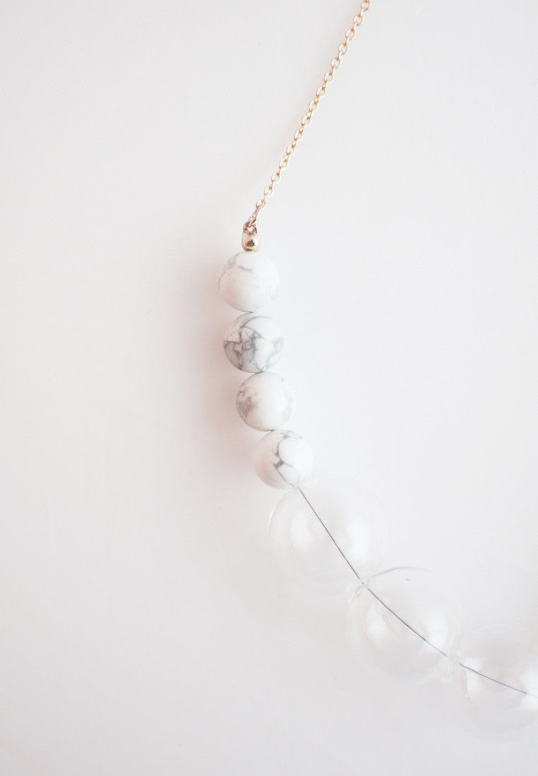 Howlite Glass Necklace - sanwaitsai - 2