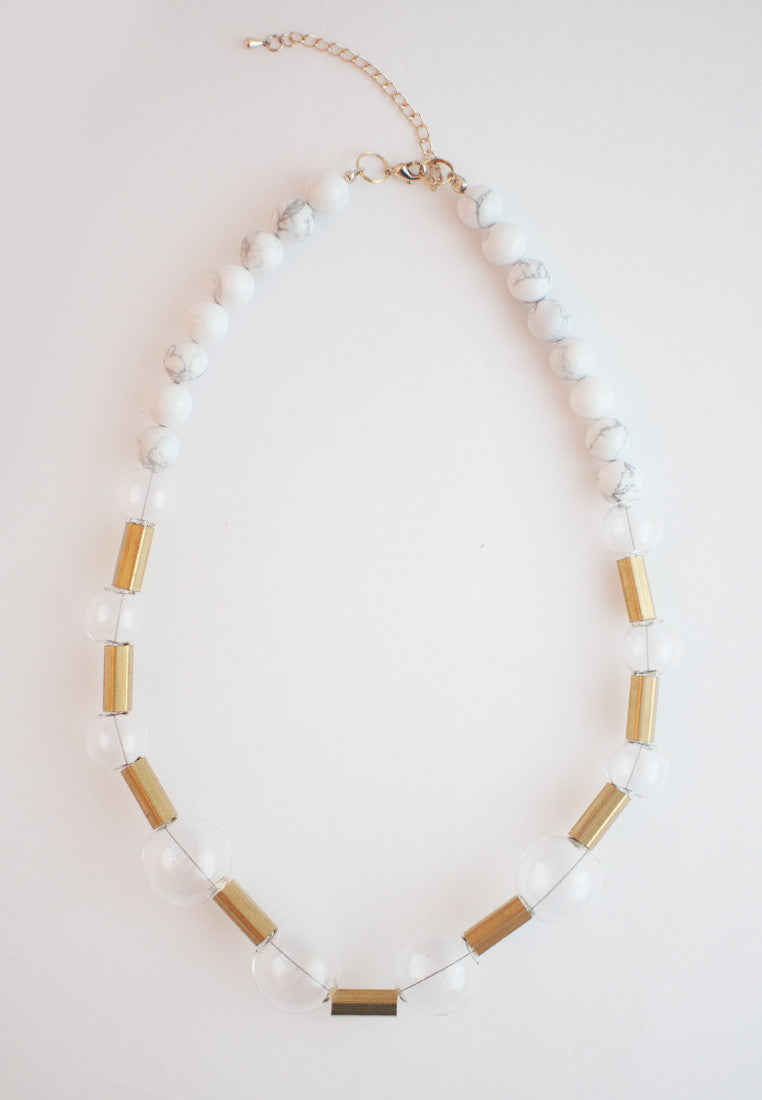 Glass Howlite Necklace - sanwaitsai - 2