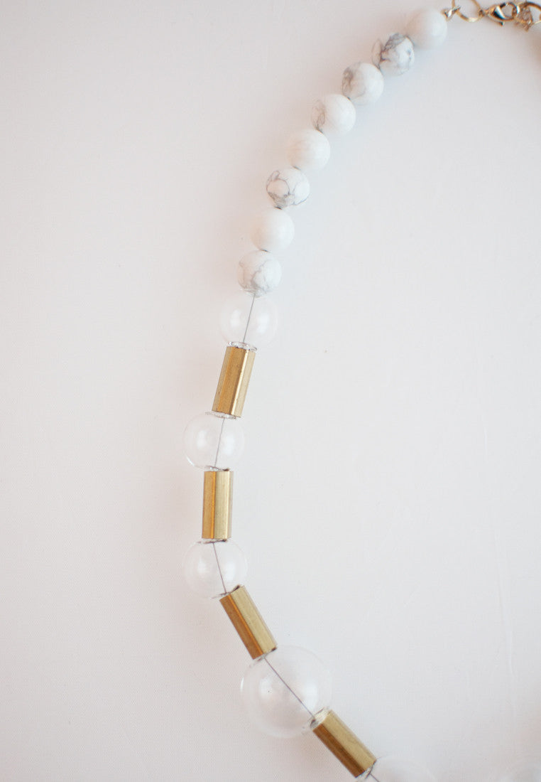Glass Howlite Necklace - sanwaitsai - 3
