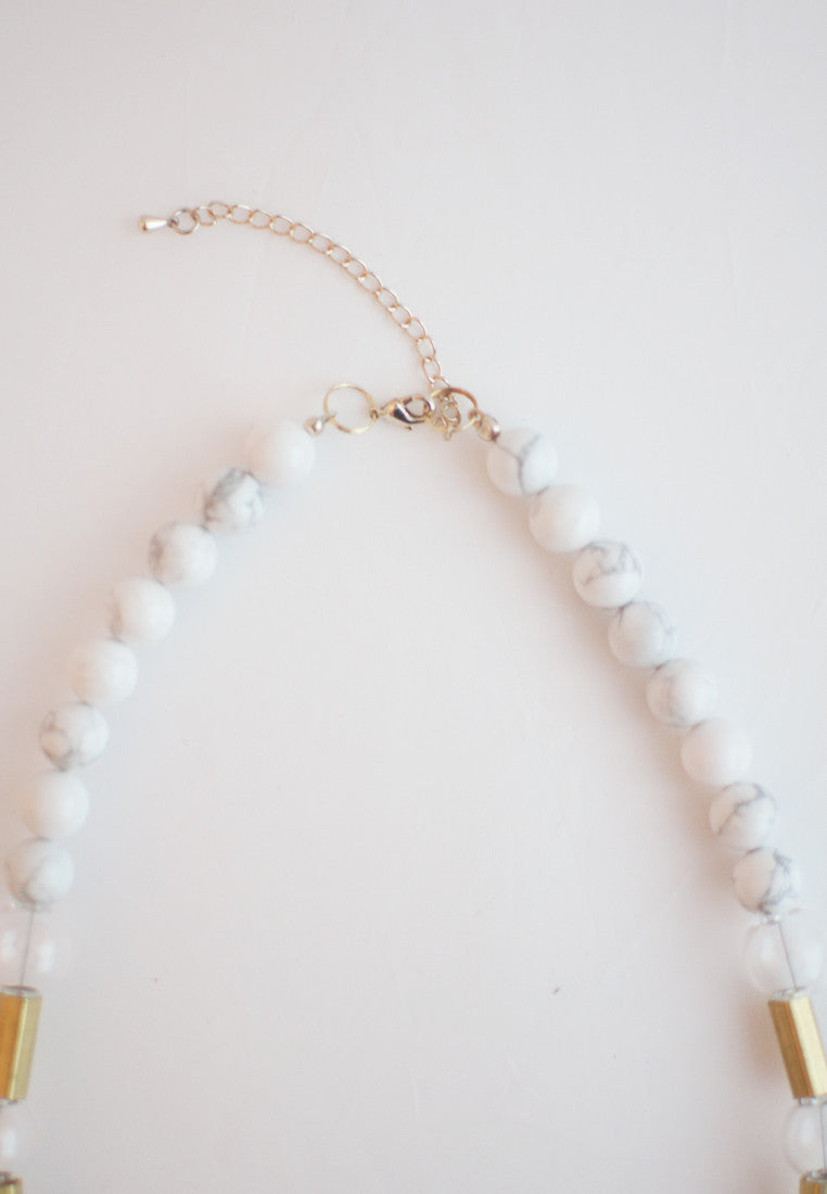 Glass Howlite Necklace - sanwaitsai - 4