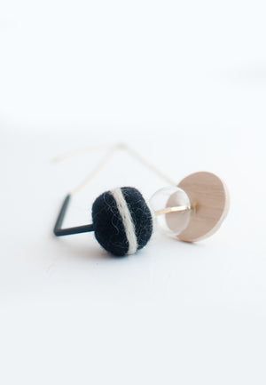 Felt Ball Wood Metal Necklace - sanwaitsai - 1