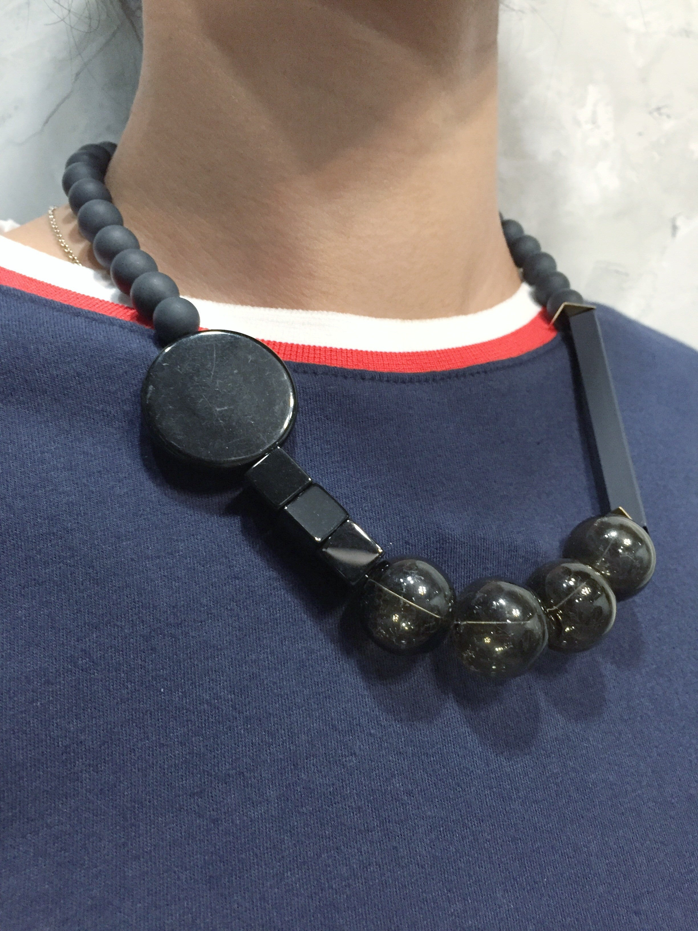 Black Matte Onyx Glass Necklace