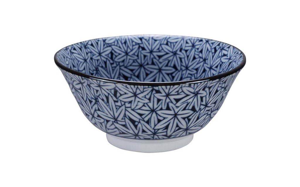 Bowl - blue with leaves