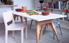 Compass table-Beech with white laminate top