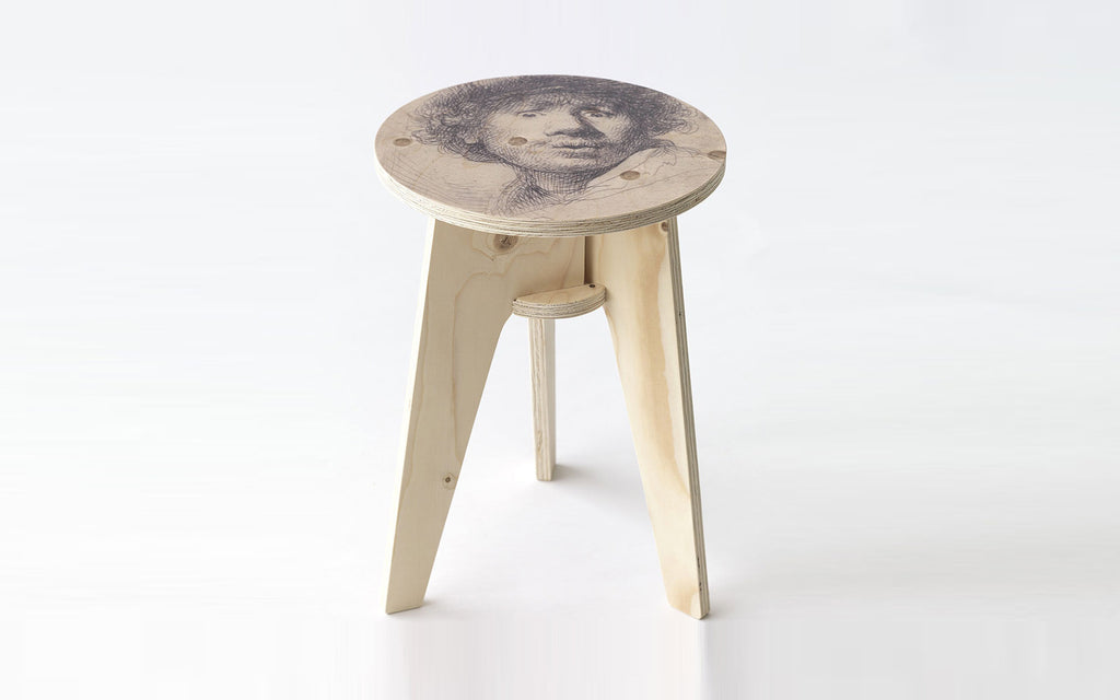 Printed crisis stool- Self Portrait with beret