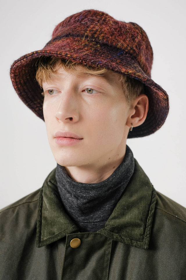 Wool Hat – Aubergine/Check
