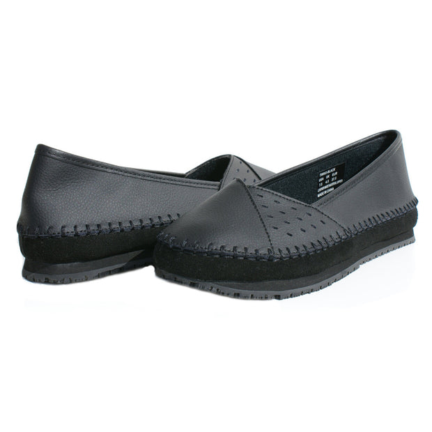 TK's Women Leather Slip Resistant Flat Shoes Loafer - Tanleewa