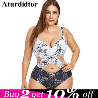 Plus Size Marble Print Monokini Sexy One Piece Swimsuit Women Padded Hollow Out Beach Swimwear Summer Bathing Suit