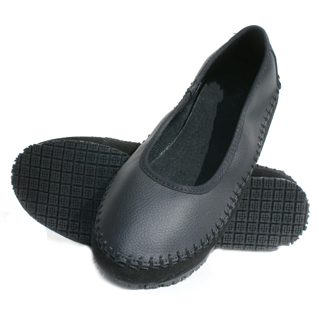 TK's Women Slip Resistant Leather Flat Shoes