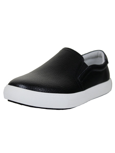 Women's Slip Resistant Shoe Casual Walking  Comfortable Black Leather Shoes