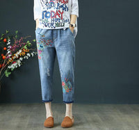 Summer Womens Jeans Denim Retro Embroidery Drawstring Holes Loose Comfort Casual Cowboy Female Seven Plus Size Women pants