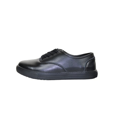 Womens Slip Resistant Lace Up Work Shoes Black Leather Shoes - Tanleewa