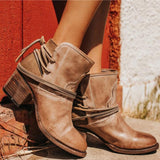 Ankle Boots Plus Size Women Retro High Heels Block Heel Shoes For Female Flock Buckle Strap Short boots woman shoes