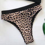 Hot Sexy Women Leopard Printed Bathing Wear 2019 Latest Push-Up Padded Lady Lengerie String Singel Strap Hollow Out Underwear
