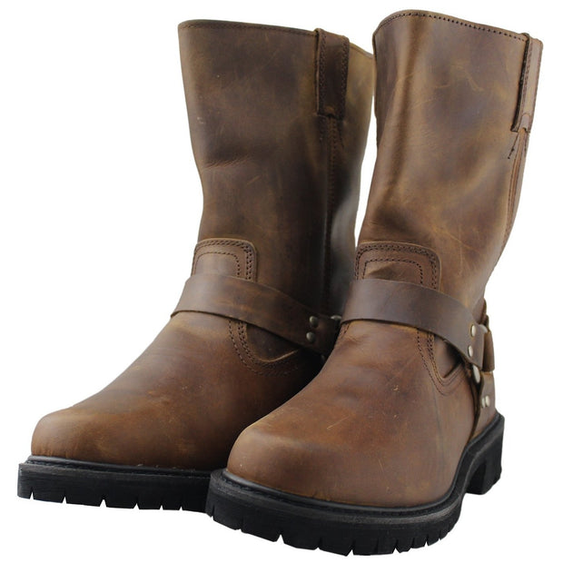 Mens Motorcycle Harness Boot Work Roper Shoes - Tanleewa