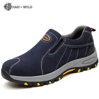 Steel Toe Safety Work Shoes Men 2018 Fashion Summer Breathable Slip On Casual Boots Mens Labor Insurance Puncture Proof Shoe