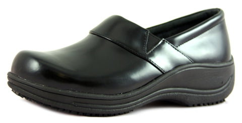 Townforst® Judith Women's Slip Resistant Leather Color Clog Black