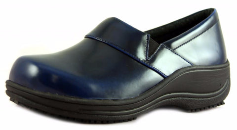 Townforst® Judith Women's Slip Resistant Leather Color Clog Blue