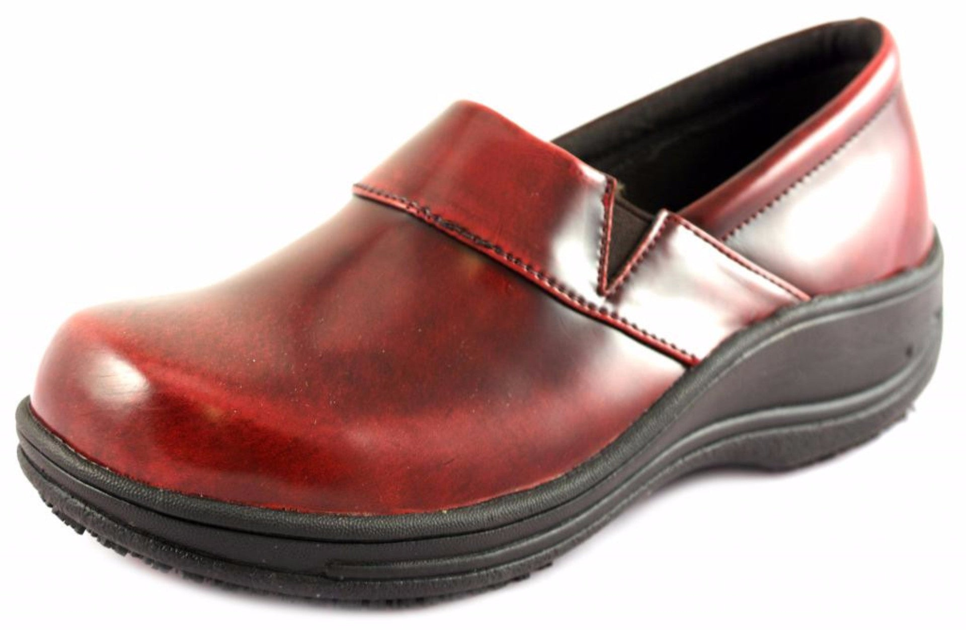 Townforst® Judith Women's Slip Resistant Leather Color Clog Red