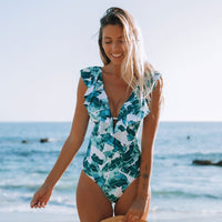 2020 Sexy One Piece Swimsuit Push Up Swimwear Women Ruffle Monokini Adjustable Shoulder Swimsuit Bodysuit Bathing Suit Swim Wear