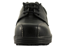 Townforst Geoff Mens Slip and Oil Resistant Black Leather Composite Toe Shoe