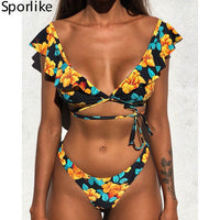 Off The Shoulder Print Ruffled Bikini Mujer Sexy Swimwear Women Swimsuit Brazilian Bikini Set