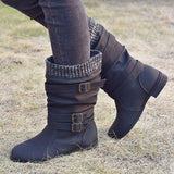 Women Winter Buckle Strap Pu Leather Chunky Heels Mid Calf Boots Woman Knitted Slip On Retro Boots Lady Casual Fashion Footwear