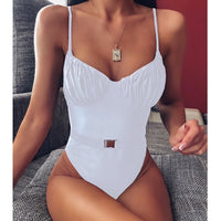 2019 Sexy Belt One Piece Swimsuit Women Swimwear Folds Bodysuit Swimsuit Push Up Monokini Bathing Suits Beach Wear Swimming Suit