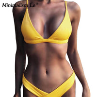2020 Solid Bikini Set Women Swimsuit Female Swimwear Bikinis Sexy Bathing Suit Biquini Backless Beach Wear Maillot De Bain Femme