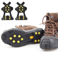 1Pair 10Stud S M L Non Slip Snow Shoe Spikes Winter Anti Slip Ice Grips Cleats Crampons Climbing Outdoor  Shoes Cover Crampons
