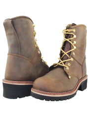 Work Roper Boots for Men Handmade Leather Logger Boots Oil Resistant Riding Boots - Tanleewa