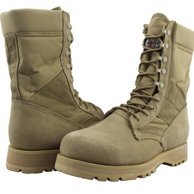 Men Leather Military Combat Work Boots - Tanleewa