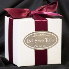 5 oz white box with satin wine ribbon