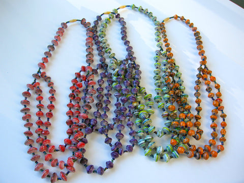 fair trade handcrafted necklace by Uganda women