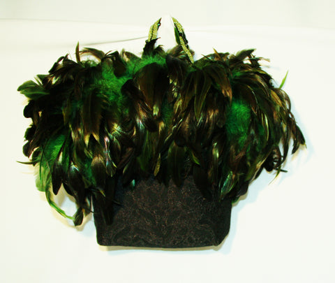 Black Evening Bag with Marabou Feathers